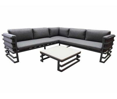 AVH-Collectie Matoury hoek loungeset 3-delig antraciet aluminium