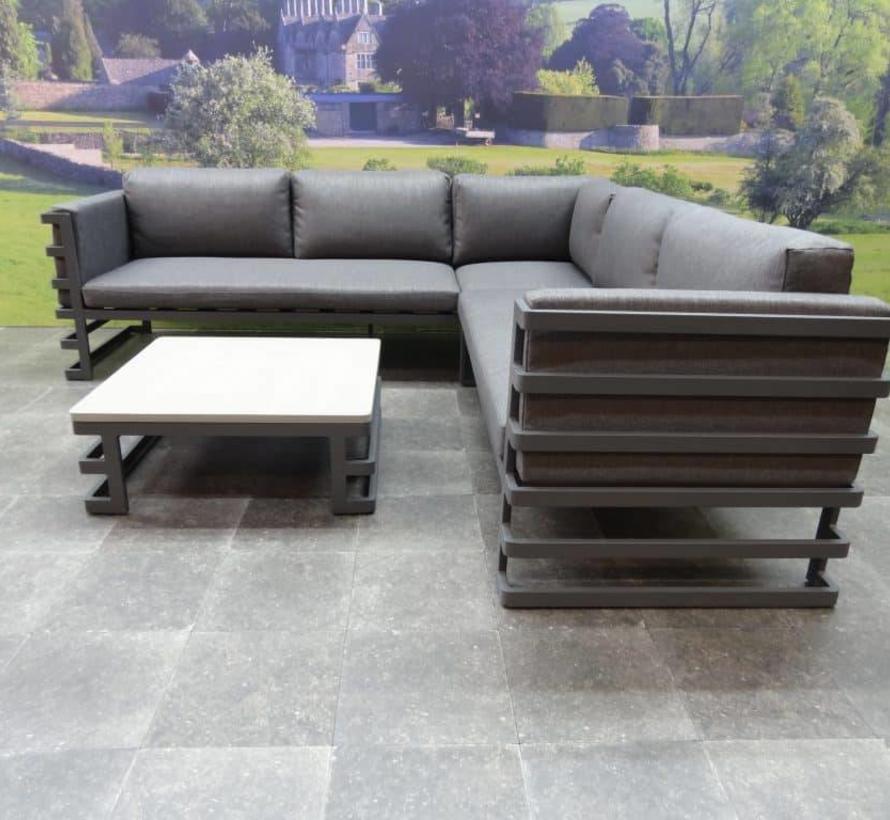 Matoury hoek loungeset 3-delig antraciet aluminium