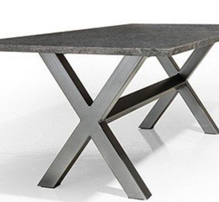 Marbella dining tuintafel 300x100xH75 cm 3 cm graniet black gezoet Angola