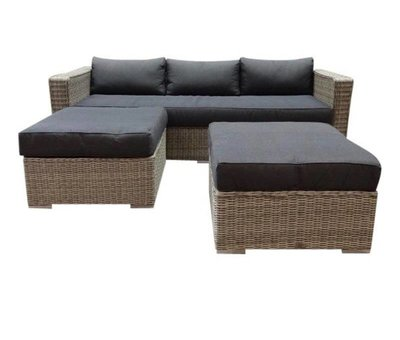 AVH-Collectie Matino chaise longue loungeset 3-delig grijs