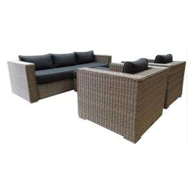 AVH-Collectie Matino stoel-bank loungeset 4-delig grijs
