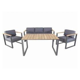 AVH-Collectie Melton stoel-bank dining loungeset 4-delig aluminium antraciet
