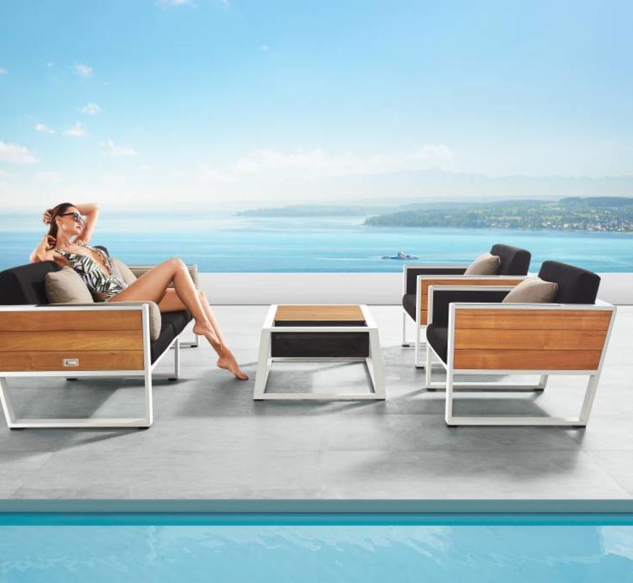 York stoel-bank loungeset 4-delig wit aluminium zwarte kussens