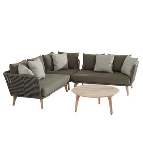 4 Seasons Outdoor Santander hoek loungeset 4-delig taupe rope 4 Seasons Outdoor