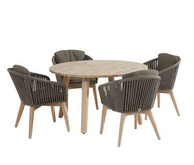 4 Seasons Outdoor Santander Derby dining tuinset 130 cm rond 5-delig taupe rope 4 Seasons Outdoor