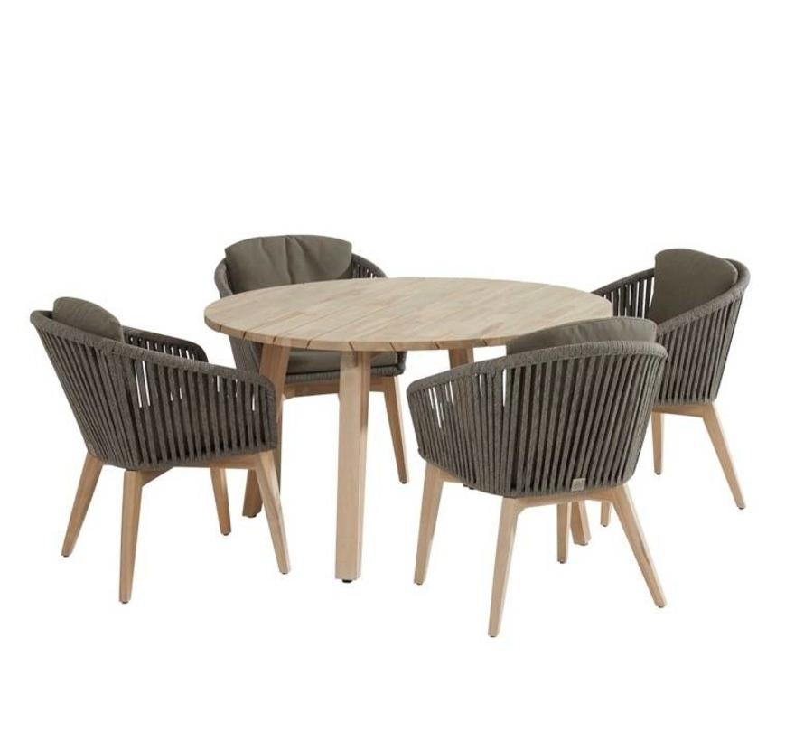 Santander Derby dining tuinset 130 cm rond 5-delig taupe rope 4 Seasons Outdoor