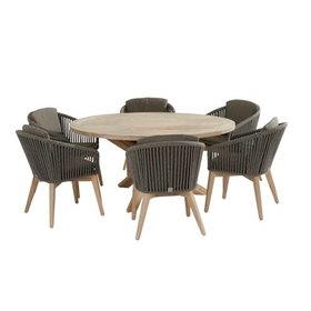 4 Seasons Outdoor Santander Louvre dining tuinset 160 cm rond 7-delig taupe rope 4 Seasons Outdoor