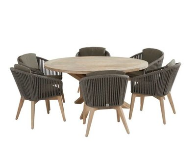 4 Seasons Outdoor Santander louvre dining tuinset 130 cm rond 7-delig taupe rope 4 Seasons Outdoor