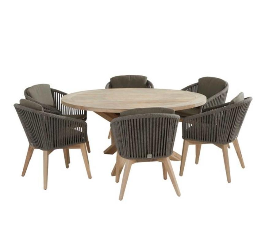 Santander louvre dining tuinset 130 cm rond 7-delig taupe rope 4 Seasons Outdoor