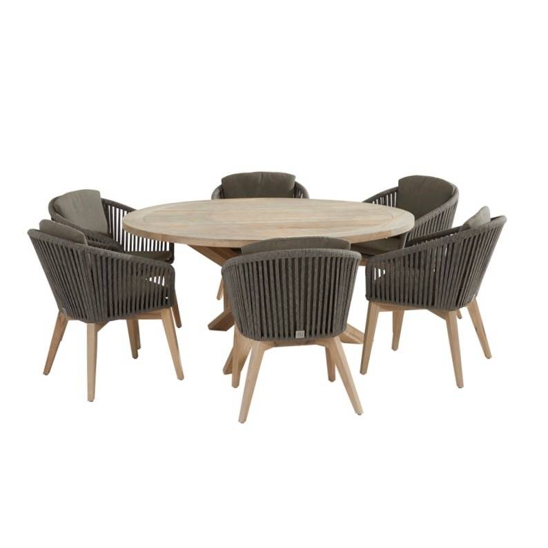 Santander Louvre dining tuinset 160 cm rond 7-delig taupe rope 4 Seasons Outdoor