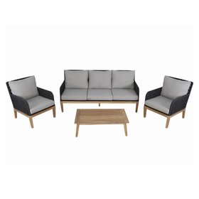 AVH-Collectie Montevideo stoel-bank loungeset 4-delig antraciet rope