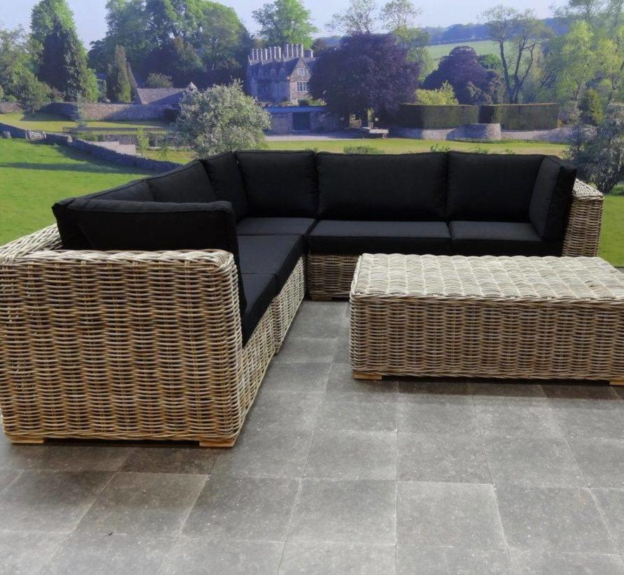 Nissah modulair hoek loungeset 6-delig naturel rotan