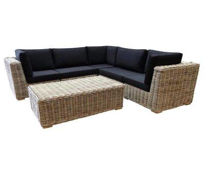 AVH-Collectie Nissah modulair hoek loungeset 6-delig naturel rotan