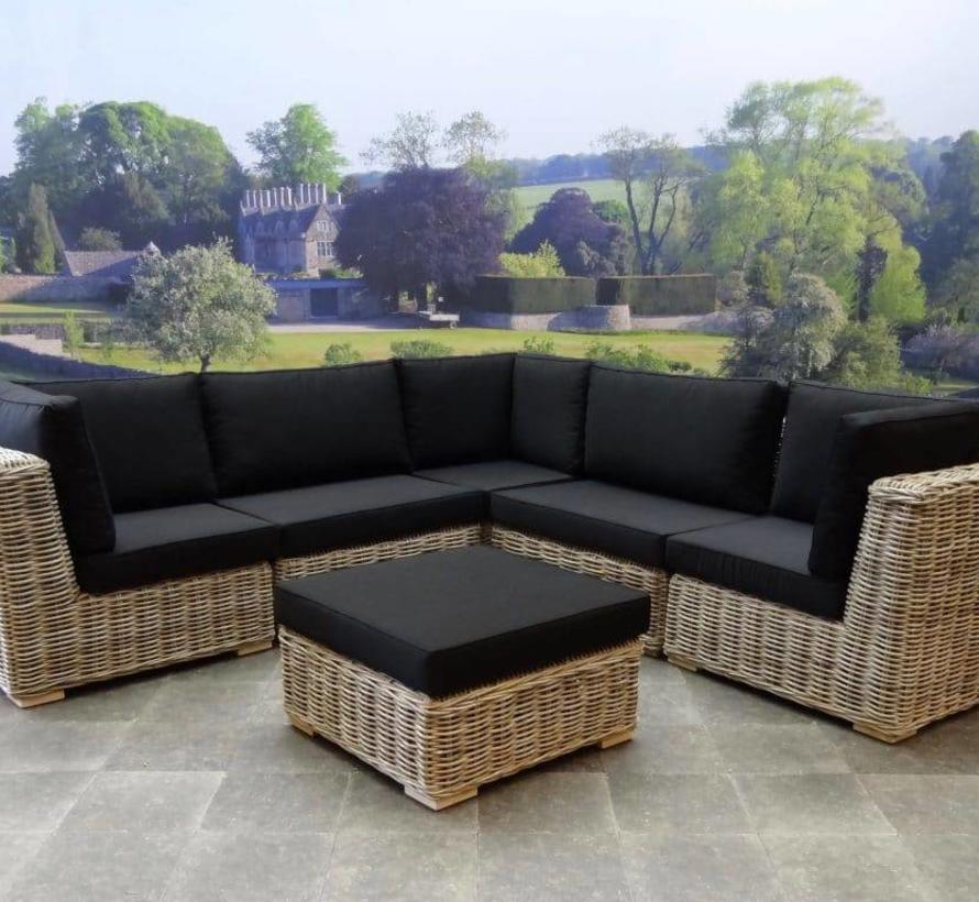 Nissah modulair hoek loungeset 7-delig naturel rotan