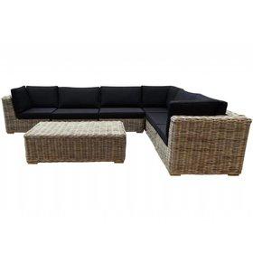 AVH-Collectie Nissah modulair hoek loungeset 7-delig naturel rotan