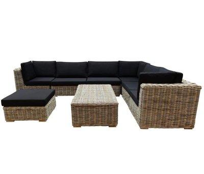 AVH-Collectie Nissah modulair hoek loungeset 8-delig naturel rotan