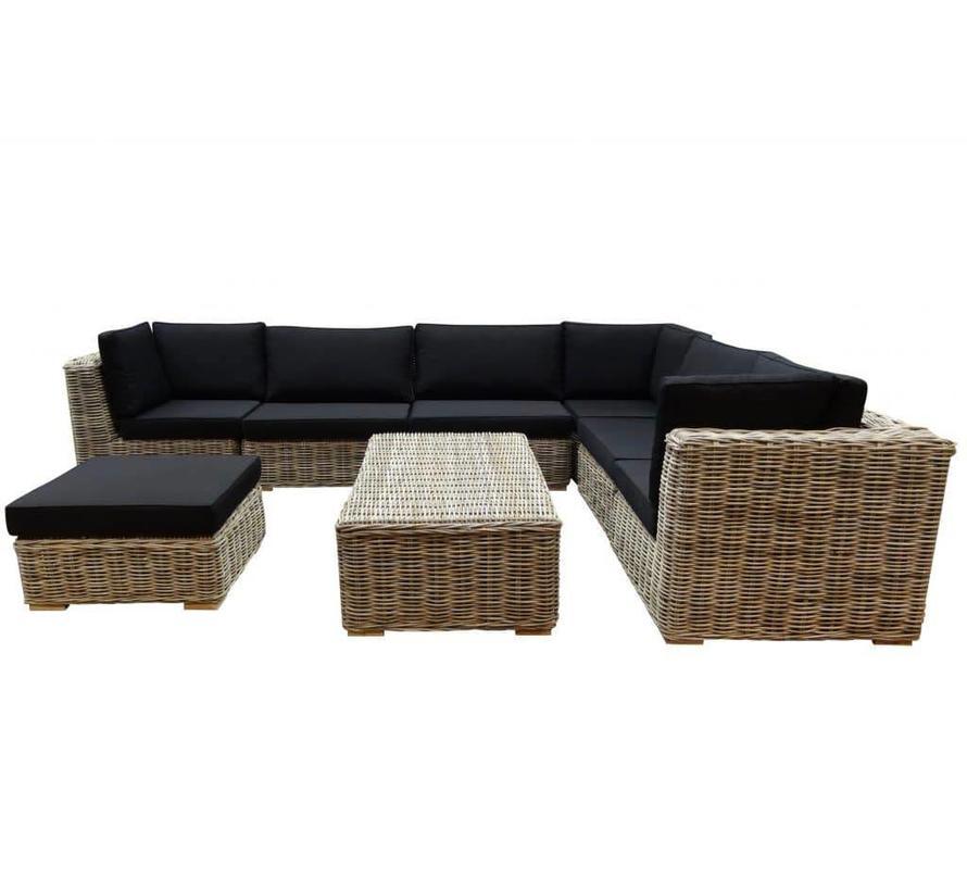 Nissah modulair hoek loungeset 8-delig naturel rotan