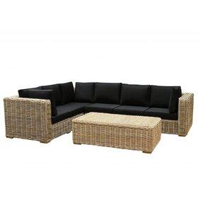 AVH-Collectie Nissah XL hoek loungeset links 3-delig naturel rotan
