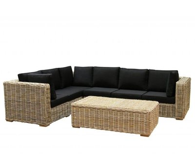 AVH-Collectie Nissah XL hoek loungeset  3-delig naturel rotan (links)