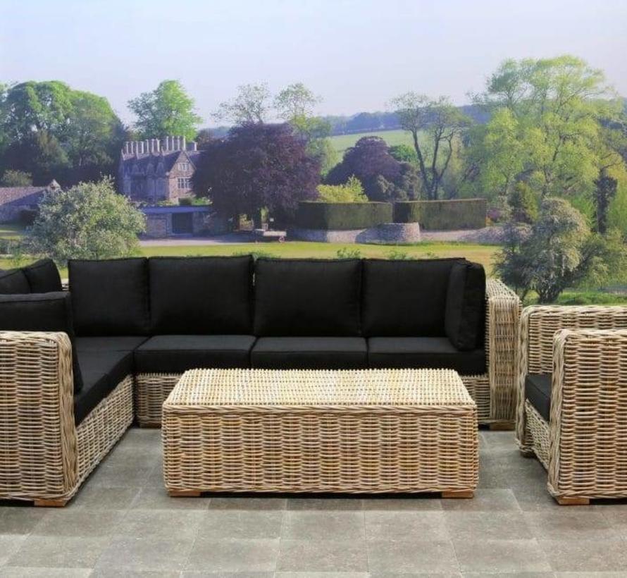 Nissah XL hoek loungeset links 4-delig naturel rotan