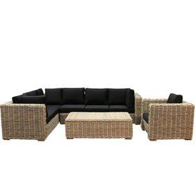AVH-Collectie Nissah XL hoek loungeset links 4-delig naturel rotan