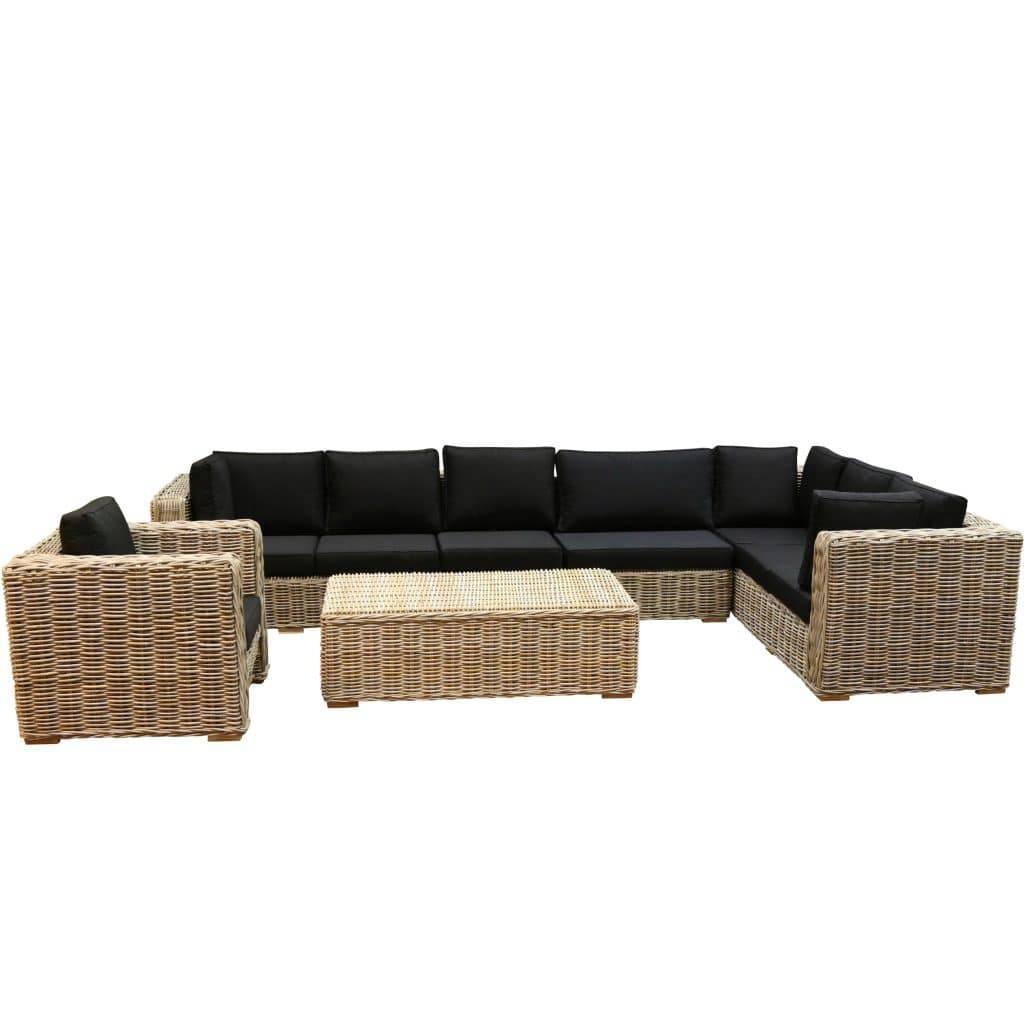Nissah XL hoek loungeset links 5-delig naturel rotan