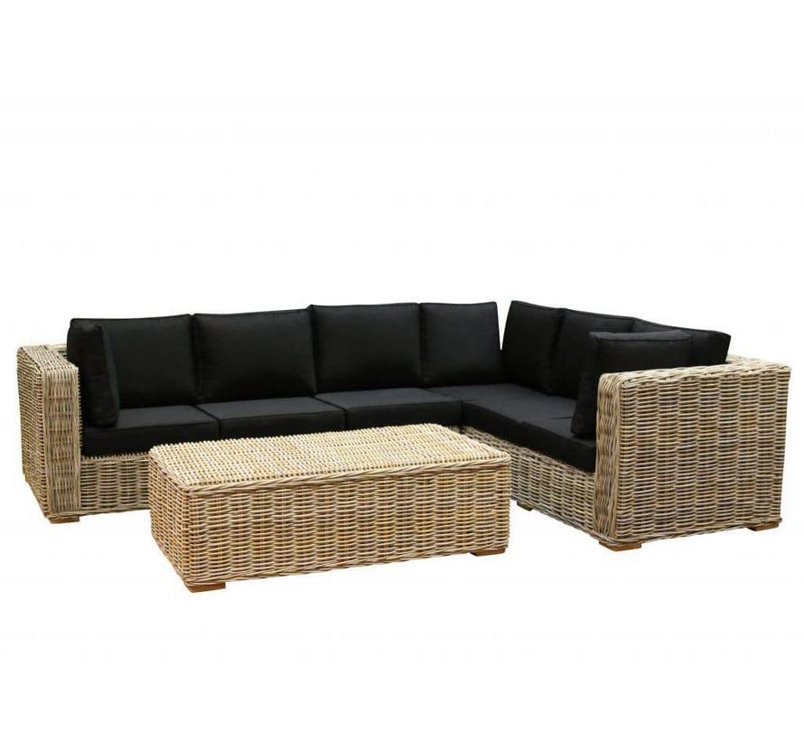 Nissah XL hoek loungeset 3-delig naturel rotan (rechts)