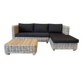 AVH-Collectie Toronto chaise longue loungeset links 3-delig naturel rotan