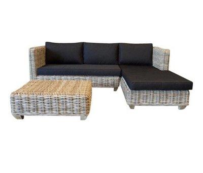 AVH-Collectie Toronto chaise longue loungeset links 3-delig naturel rotan