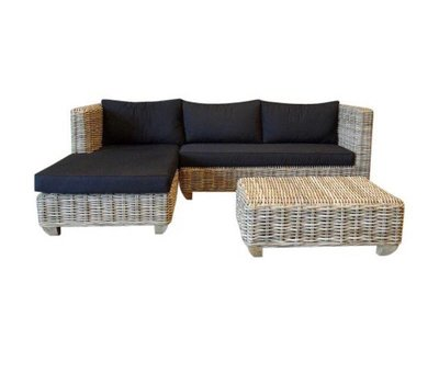 AVH-Collectie Toronto chaise longue loungeset rechts 3-delig naturel rotan