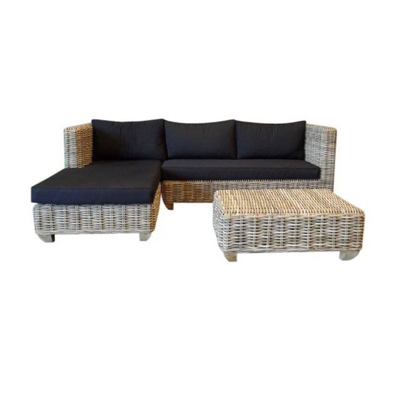 Toronto chaise longue loungeset rechts 3-delig naturel rotan