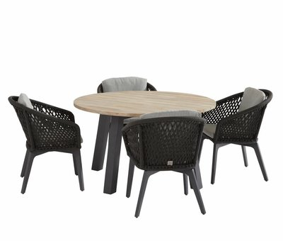 4 Seasons Outdoor Belize Derby dining tuinset 5-delig 130 cm rond rope 4 Seasons Outdoor