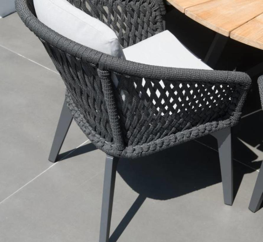 Belize Derby dining tuinset 5-delig 130 cm rond rope 4 Seasons Outdoor