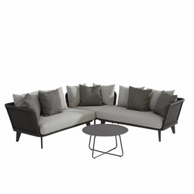 4 Seasons Outdoor Belize hoek loungeset 4-delig antraciet aluminium rope 4 Seasons Outdoor