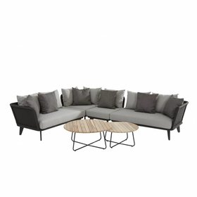 4 Seasons Outdoor Belize hoek loungeset 6-delig antraciet teak rope 4 Seasons Outdoor