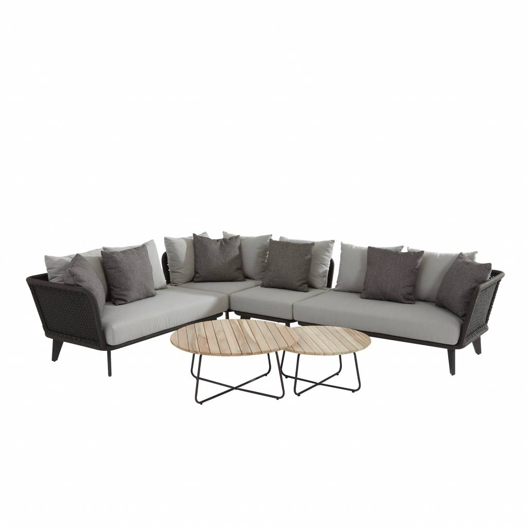 Belize hoek loungeset 6-delig antraciet teak rope 4 Seasons Outdoor