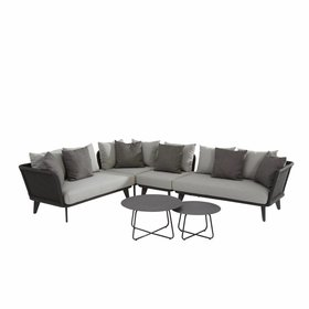 4 Seasons Outdoor Belize hoek loungeset 6-delig antraciet aluminum rope 4 Seasons Outdoor