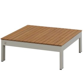 4 Seasons Outdoor Mistral lounge tuintafel 90x90xH32 cm seashell – teak 4-Seasons Outdoor