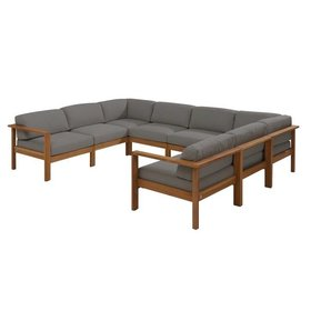 4 Seasons Outdoor Lido hoek loungeset 8-delig teak middengrijs