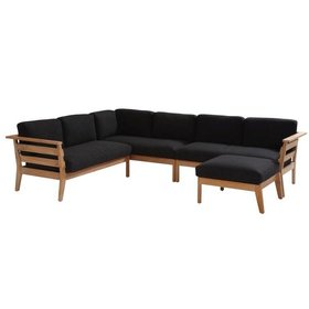 4 Seasons Outdoor Polo hoek loungeset 4-delig naturel teak  4 Seasons Outdoor