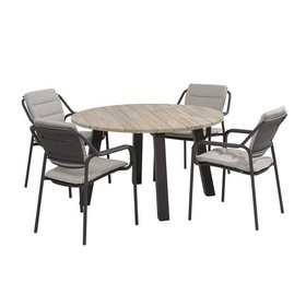 4 Seasons Outdoor Eco Derby dining tuinset 5-delig 130 cm rond 4 Seasons Outdoor