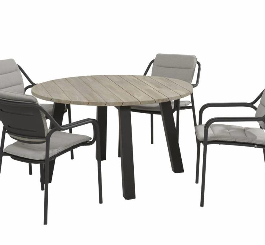 Eco Derby dining tuinset 5-delig 130 cm rond 4 Seasons Outdoor