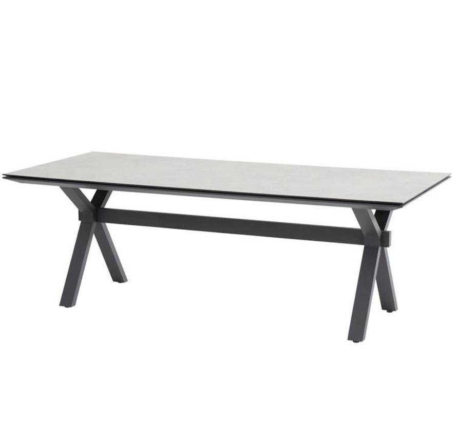 Conrad dining tuintafel 220x95xH75 cm HPL lichtgrijs aluminium 4 Seasons Outdoor