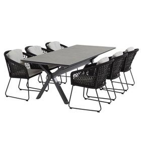 4 Seasons Outdoor Belize Conrad dining tuinset 7-delig 220x95xH75 cm rope 4 Seasons Outdoor