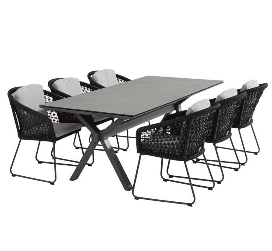 Belize Conrad dining tuinset 7-delig 220x95xH75 cm rope 4 Seasons Outdoor