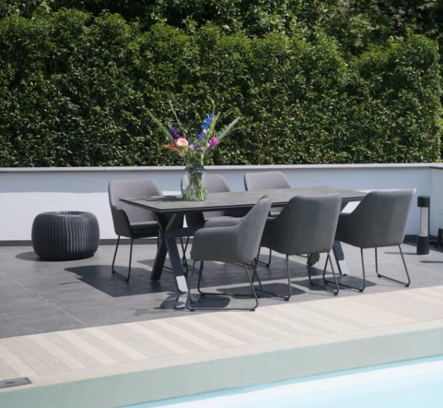 Amora Conrad dining tuinset 220x95cH77 cm HPL outdoor textiel