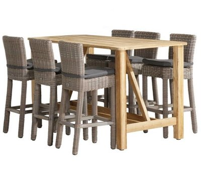 4 Seasons Outdoor Wales Casa barset 7-delig teak wicker 4 Seasons Outdoor