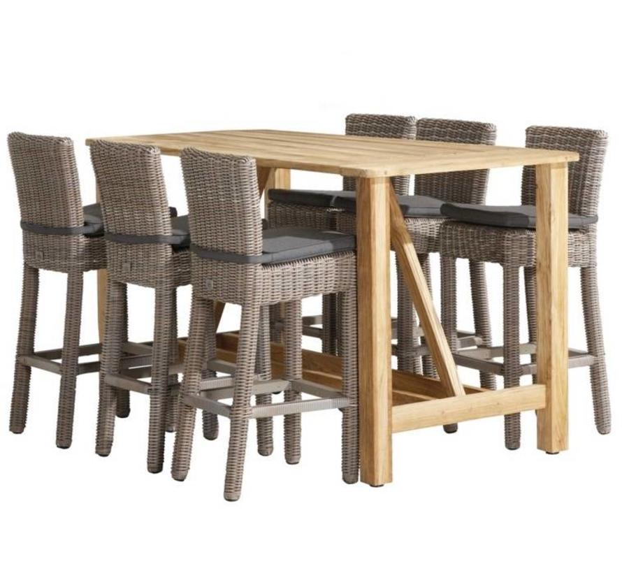 Wales Casa barset 7-delig teak wicker 4 Seasons Outdoor
