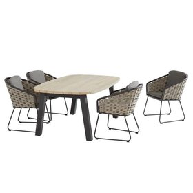 Taste 4SO Bo Derby dining tuinset  5-delig aluminium bananen wicker teak Taste 4SO