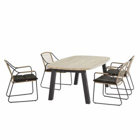 4 Seasons Outdoor Derby Scandic dining tuinset 180x110xH75 cm 5-delig aluminium teak